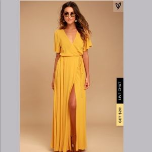 Lulu's yellow wrap maxi dress